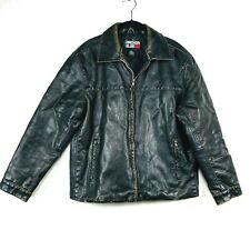 Anchor Blue Mens PVC Jacket Size Small Black Distressed Motorcycle Bomber