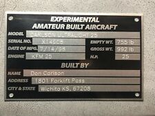 Amateur Built Experimental Aircraft Placard & Data Plate Engraved Custom Info