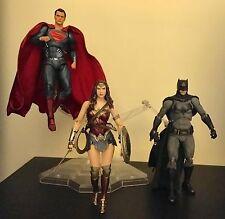 Medicom Batman, Superman, And Wonder Woman PX MAF EX And Display