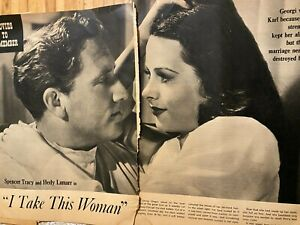 I Take This Woman, Hedy Lamarr, Spencer Tracy, Three Page Vintage Clipping