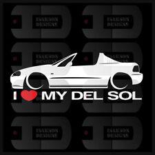 I Heart My Del Sol Sticker Love Slammed Low TTop Civic Japan Honda Static Bagged