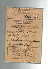 1941 Litzmannstadt Germany Neuengamme Concentration Camp money order Receipt KZ