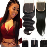 4x4 Free Part Virgin Remy Human Hair Lace Closure Natural Black Bleached Knot