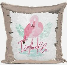 Personalised Flamingo Any Name Magic Reveal Gold Sequin Cushion Cover Gift 1