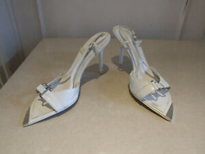 Disco Rosso Delightful White Sling-Back Sandals Shoes w Silver Detail EU 40 UK 7