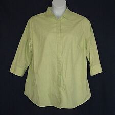 Chaps Green White Checked No Iron Cotton Spring Top Womens Plus Size 1X