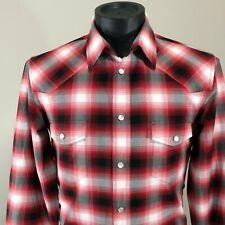 Shadow Plaid Marc Jacobs Italy Snap Up Western Cowboy Shirt Men Sz 50 M Slim US