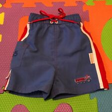Blue Red And White Fire truck 12 Months 12M Baby Boy Swim Trunks By Little Me
