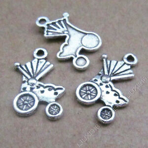 20x Tibetan Silver Pram Baby Carriage Pendant Charms Dangle Jewelry Making 534AF