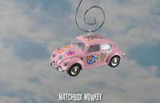 67 Classic Flower Power Peace Hippie Volkswagen Beetle Bug Christmas Ornament VW