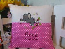 Kissen mit Namen bestickt zur Geburt(kleiner Elefant rosa )