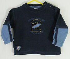 'Adams' Blue Longsleeve Ribbed T-Shirt Top - Boys Size 6-9 Months