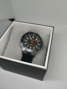 Watch Timex TW2R60600 STEEL 316L 43MM Gent Quartz Analog Black Wristwatch Men UK