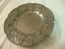Beautiful Art Nouveau KAYSERZINN Floral Rim German Pewter Plate engraved 1898