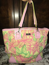 Lilly Pulitzer large pink green tropical flower Hawaiian tote purse bag-$400