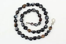 "9 mm naturale black agate COLLANA 16 "" 9mm Grade"" A ""Naturale Agate Pebble beads"