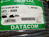 Southwire 996212 24/12P CAT3 Backbone Telecommunication Cable CMR/CMX Gray /50ft