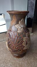 Large used old brown grey beige floral pottery ceramic vase Height: 23.5cm