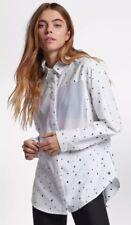 $55 Hurley Wilson Mesh Dot Women's Size SMALL Long-Sleeve Shirt White BL2868-96