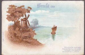 Germany Gruss aus generic PPC embossed windmill used 1906 u/b PPC