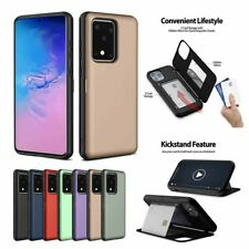 Hidden Card Holder Wallet Case with Mirror For Samsung S8 S9 S10 S20 Ultra Plus