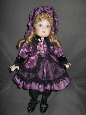 """Maryse Nicole, Bebe Bru, 16"""" Porcelain/ Cloth Doll, Excellent Condition, Stand"""
