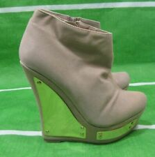 """Size 9 new Nude/Gold 5.5""""High Wedge Heel Round Toe 1.5""""Platform Sexy Ankle Boot"""