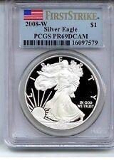 2008 ~ W ~ SILVER AMERICAN EAGLE ~ PCGS~PR~69 ~DCAM ~ FIRST STRIKE GEM ~ $64.88