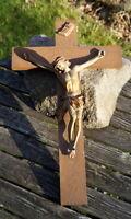 altes Kreuz Kruzifix Massivholz Keramik 50x 30 cm Jesus Christus Sammlerstück