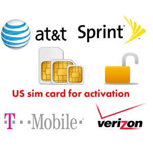US Activation Sim Card Verizon AT&T Sprint T-Mobile iPhone 7 8 X XS 11 12 Pro