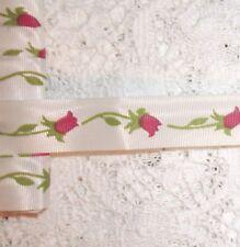 VINTAGE Floral white gros grain type ribbon 6 YARD LOT!