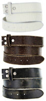 """Distressed Cowhide Leather Belt Strap 1-1/2"""" Wide, Black Brown White"""