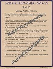 Psychic Bob's Spirit Spells #3 Seance Table Protocols 1pg Parchment Poster 8x11