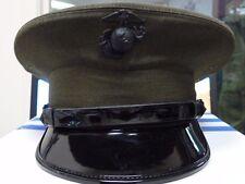US MARINES DRESS CAP HAT 6 7/8 ALPHA ENLISTED GREEN BERNARD HAT CO. USED W/ BOX