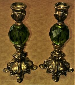 VTG Gold Green Crystal Candlestick Pair Baroque Mid Century Modern Lamp Base 8""