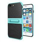 Fibra de carbono 2 en 1 Antichoque Soporte Funda carcasa para iPhone de Apple 5S