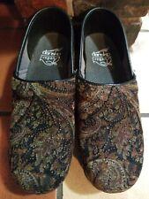Dansko Vegan Paisley Velvet Clogs Shoes Brown Glitter Black Womens SZ 38 US 7.5