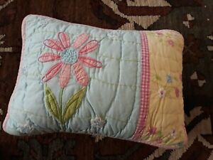 POTTERY BARN KIDS Accent PILLOW 12X16 Quilted Floral Design Pink & Multi-Color