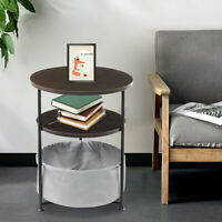 Sofa Side End Table Coffee Snack Tray Bedside Table Nightstand w/Fabric Storage