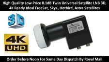More details for darkgold twin universal satellite lnb  2 output 0.1db 40mm neck hd 3d 4k support