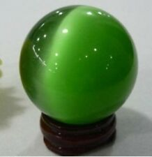 charming Green Cats Eye Crystal Ball 40mm + stand