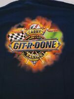 Larry The Cable Guy Men's Sz XL Navy Git R Done Racing T Shirt Tee Cotton NWT