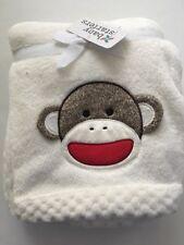 Baby Starters Girl Boy Classic Sock Monkey Ivory Blanket Layette 30x40