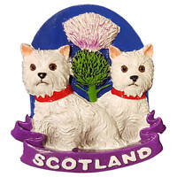 Scotland Fridge Magnet 2 Scottish Dogs, Scottish terrier with Red Collar