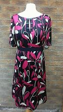 Monsoon Dress Size 12 black/pink/white design silk beaded
