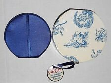 Vintage Blue White Floral Angel Print Round Carry-All Mirror Travel Case Box