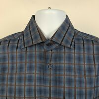 Bugatchi Uomo Shaped Fit Blue Dark Brown Check Mens Dress Button Shirt Medium M
