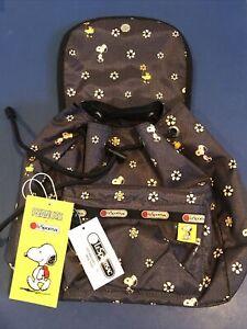 LeSportsac Peanuts Snoopy Daisy Woodstock Small Edie Drawstring  Backpack