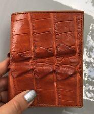 100% Genuine crocodile skin leather bifold men tan extra tall wallet