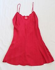 VICTORIA'S SECRET Red Silk Holiday Wreath LINGERIE  L Embroidered Lace Babydoll